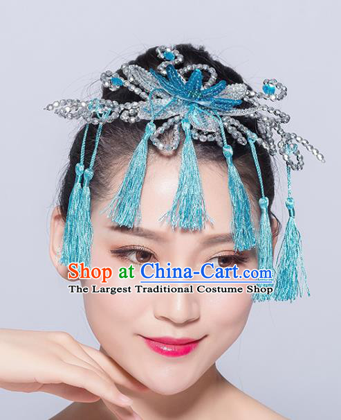 Chinese Traditional Yangko Dance Blue Flower Tassel Hair Stick National Folk Dance Hair Accessories for Women