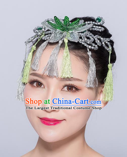 Chinese Traditional Yangko Dance Green Flower Tassel Hair Stick National Folk Dance Hair Accessories for Women