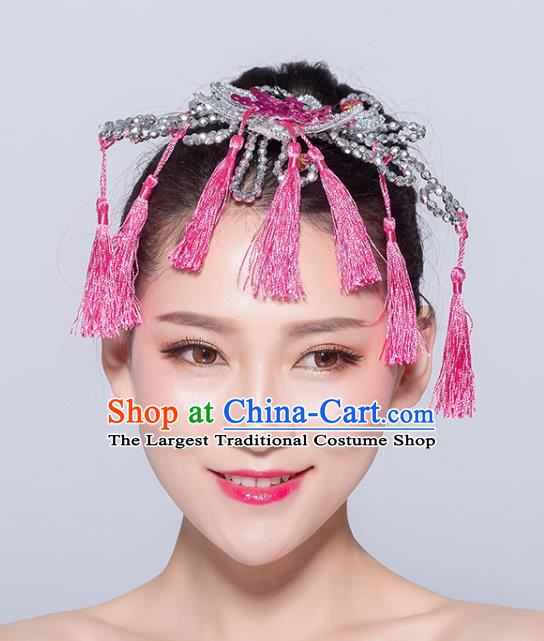 Chinese Traditional Yangko Dance Pink Flower Tassel Hair Stick National Folk Dance Hair Accessories for Women