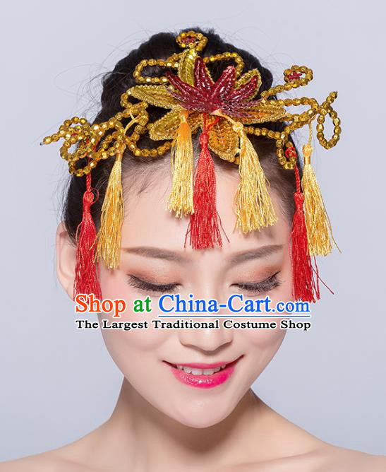 Chinese Traditional Yangko Dance Golden Hair Stick National Folk Dance Hair Accessories for Women