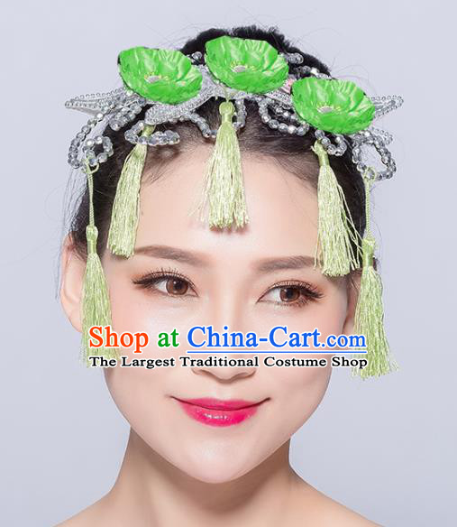 Chinese Traditional Yangko Dance Green Flowers Tassel Hair Stick National Folk Dance Hair Accessories for Women