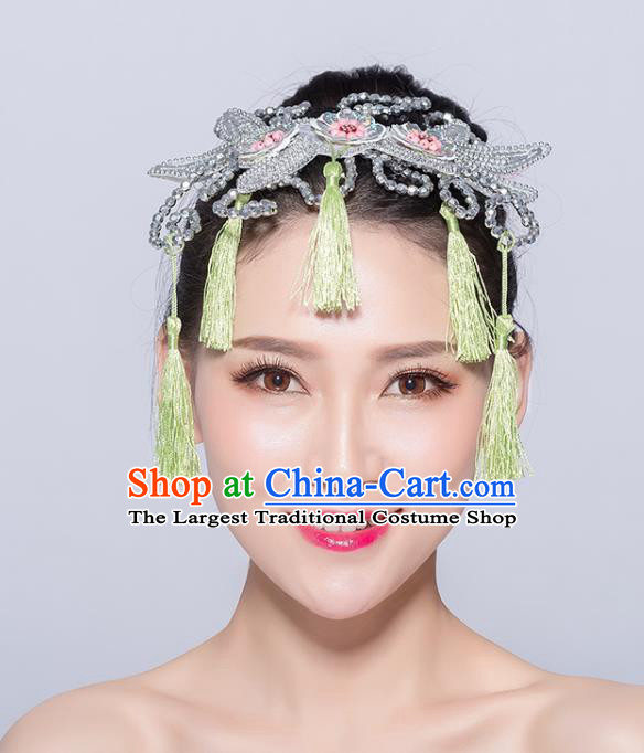 Chinese Traditional Yangko Dance Light Green Tassel Hair Stick National Folk Dance Hair Accessories for Women