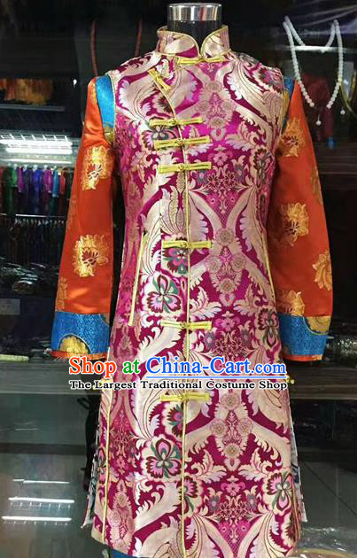 Chinese Traditional Tibetan Rosy Vest Zang Nationality Heishui Dance Ethnic Costume for Women
