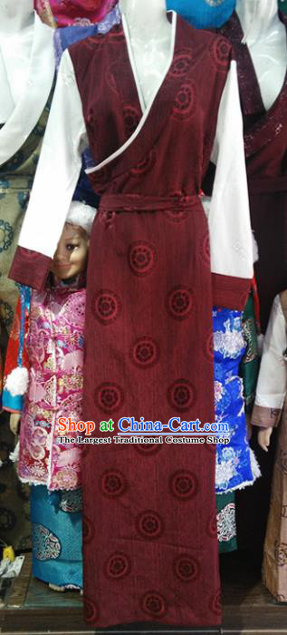 Chinese Traditional Tibetan Ethnic Purplish Red Dress Zang Nationality Heishui Dance Costume for Women