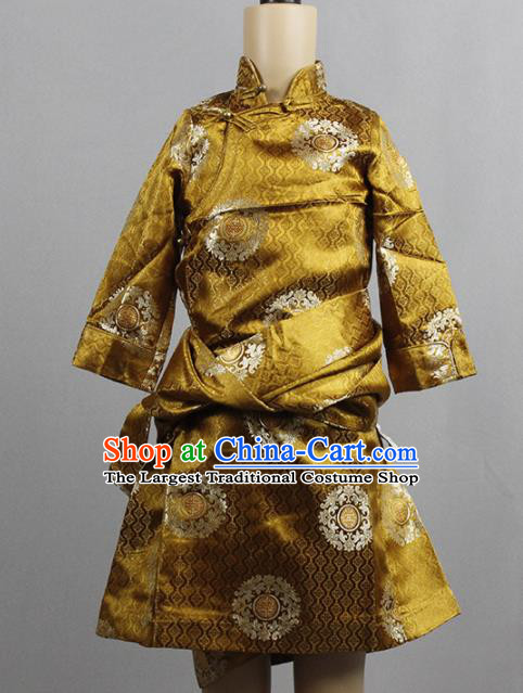 Chinese Traditional Tibetan Kham Children Golden Robe Zang Nationality Heishui Dance Ethnic Costumes for Kids