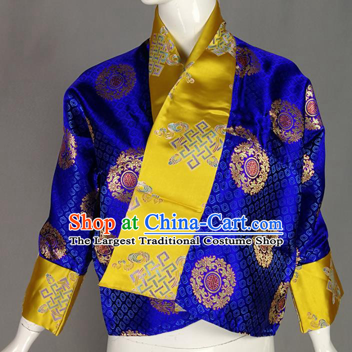 Chinese Traditional Tibetan Ethnic Royalblue Blouse Zang Nationality Heishui Dance Costume for Women