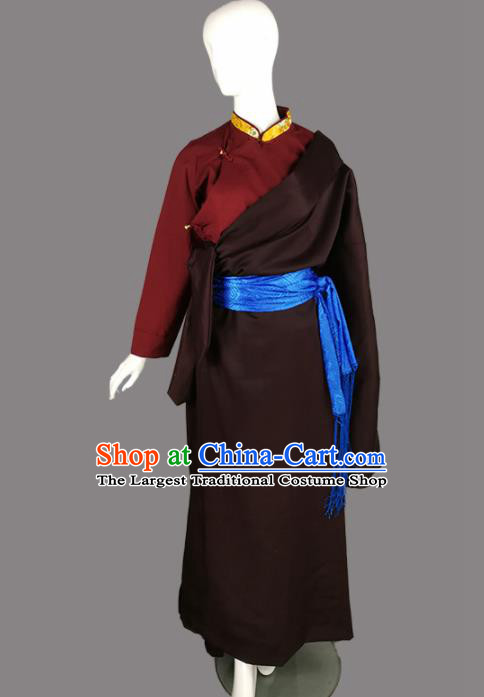 Chinese Traditional Tibetan Ethnic Brown Robe Zang Nationality Heishui Dance Costume for Women