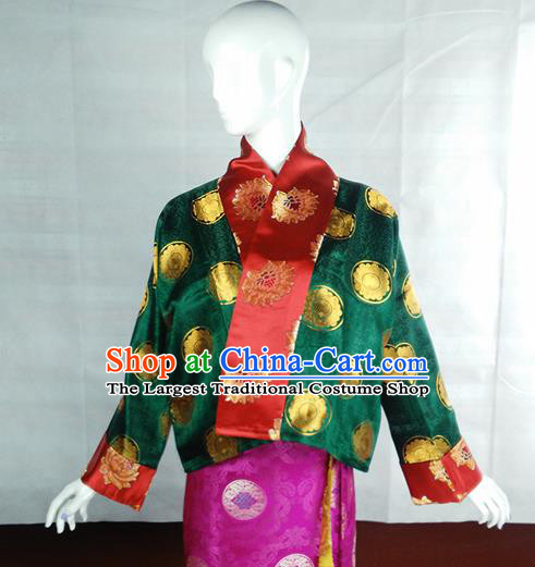 Chinese Traditional Tibetan Ethnic Green Blouse Zang Nationality Heishui Dance Costume for Women