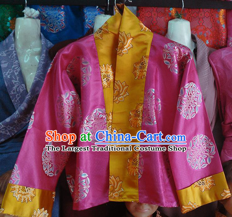 Chinese Traditional Tibetan Ethnic Rosy Blouse Zang Nationality Heishui Dance Costume for Women