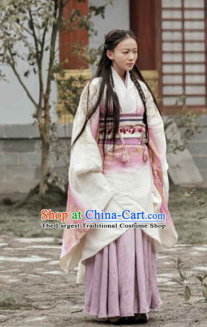 Chinese Ancient Warring States Period Nobility Lady The Lengend of Haolan Imperial Consort Historical Costume and Headpiece for Women