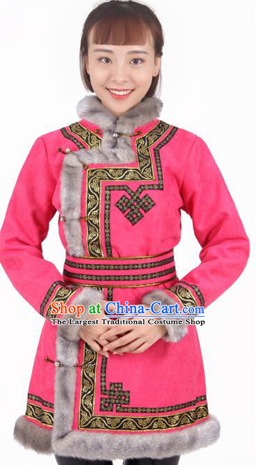 Chinese Traditional Mongolian Ethnic Pink Suede Fabric Coat Mongol Nationality Folk Dance Costumes for Women