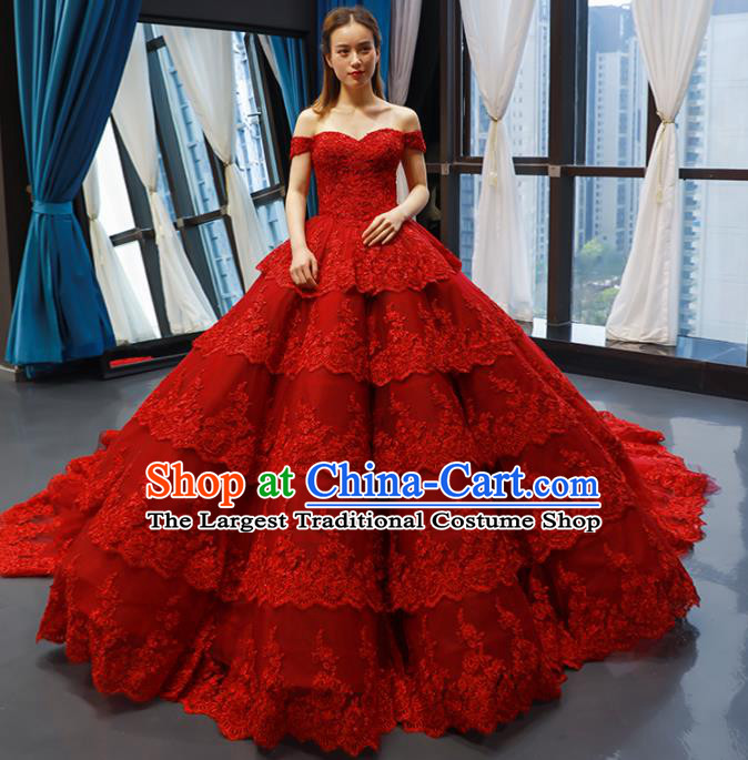 Top Grade Compere Red Lace Full Dress Princess Embroidered Wedding Dress Costume for Women