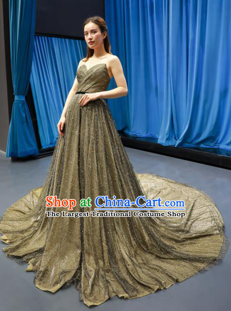 Top Grade Compere Golden Trailing Full Dress Princess Wedding Dress Costume for Women