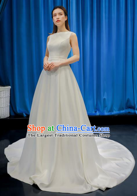 Top Grade Wedding Dress Bride Full Dress Princess Costume White Satin Gown for Women