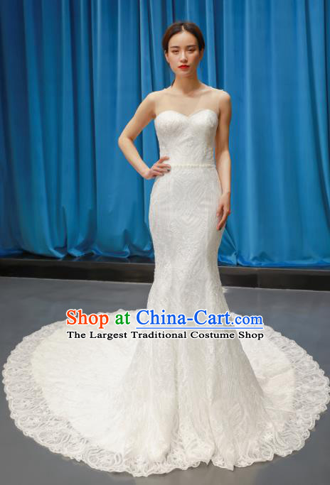 Top Grade Strapless Trailing Wedding Dress Bride Full Dress Princess Costume White Veil Gown for Women