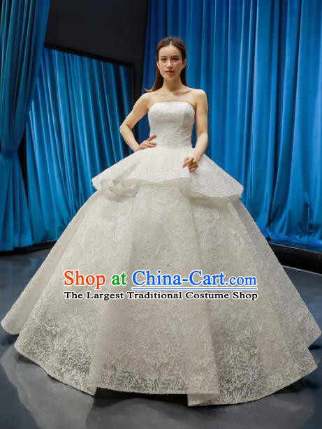 Top Grade Wedding Dress Bride Full Dress Princess Embroidered Lace Costume for Women