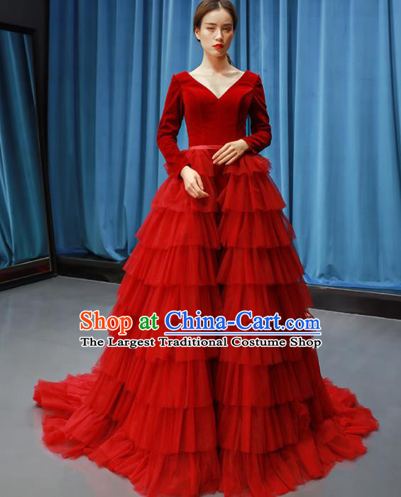 Top Grade Compere Full Dress Princess Red Veil Trailing Wedding Dress Costume for Women