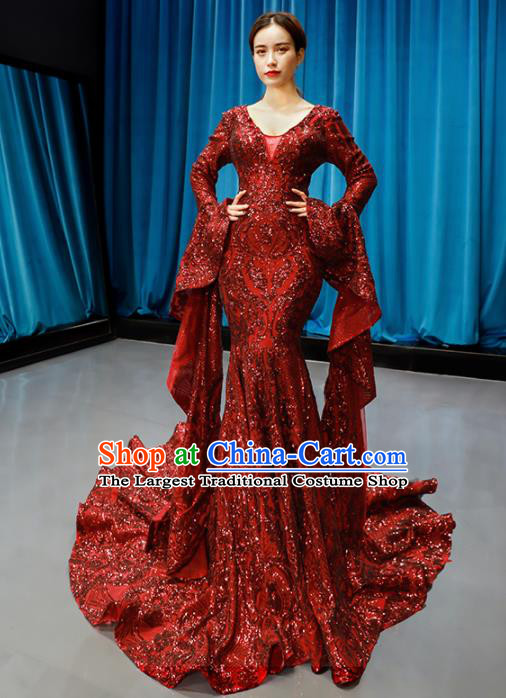 Top Grade Compere Full Dress Princess Red Paillette Trailing Wedding Dress Costume for Women