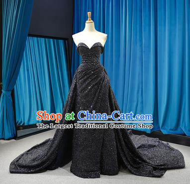 Top Grade Compere Strapless Full Dress Princess Black Paillette Trailing Wedding Dress Costume for Women