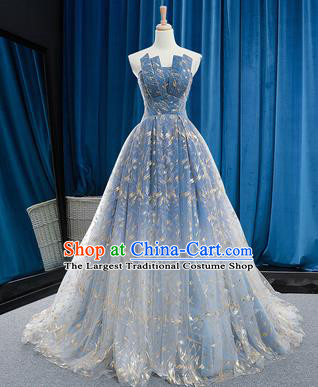 Top Grade Compere Blue Veil Full Dress Princess Bubble Wedding Dress Costume for Women