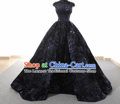 Top Grade Compere Navy Veil Full Dress Princess Bubble Wedding Dress Costume for Women