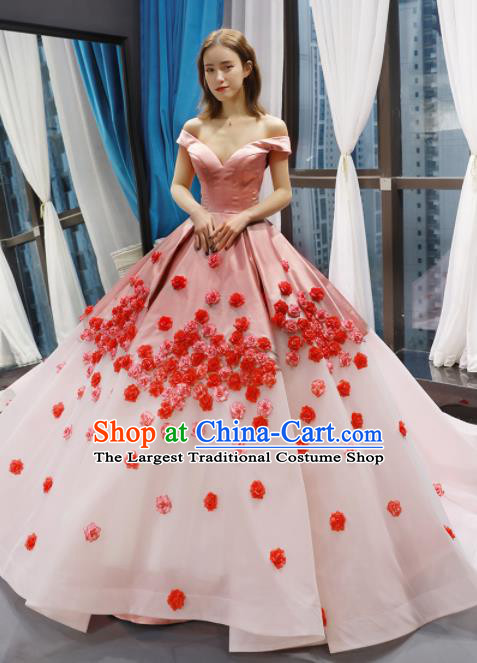 Top Grade Compere Pink Veil Trailing Full Dress Princess Bubble Wedding Dress Costume for Women