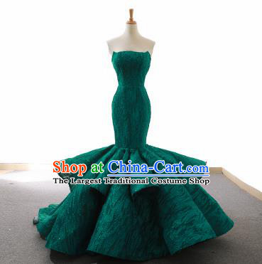 Top Grade Compere Fishtail Full Dress Princess Green Lace Wedding Dress Costume for Women