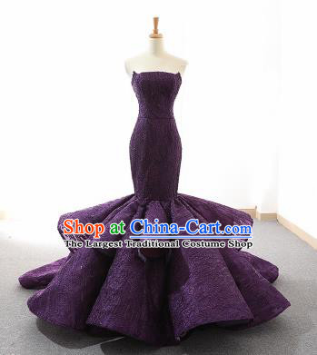 Top Grade Compere Fishtail Full Dress Princess Purple Lace Wedding Dress Costume for Women