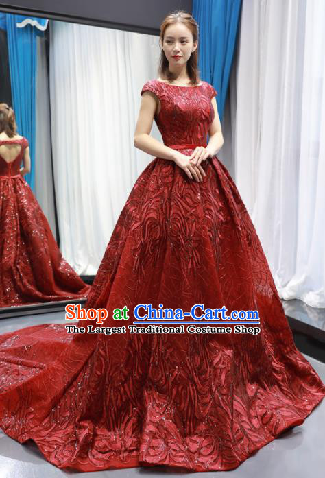 Top Grade Compere Red Trailing Full Dress Princess Wedding Dress Costume for Women