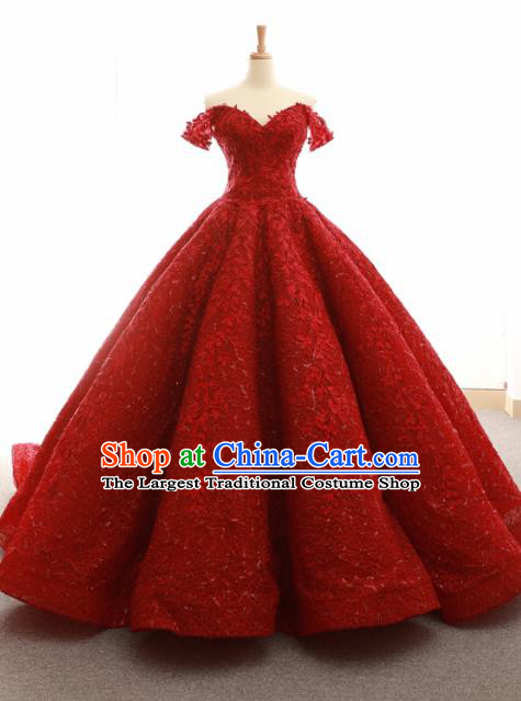Top Grade Compere Trailing Full Dress Princess Red Wedding Dress Costume for Women