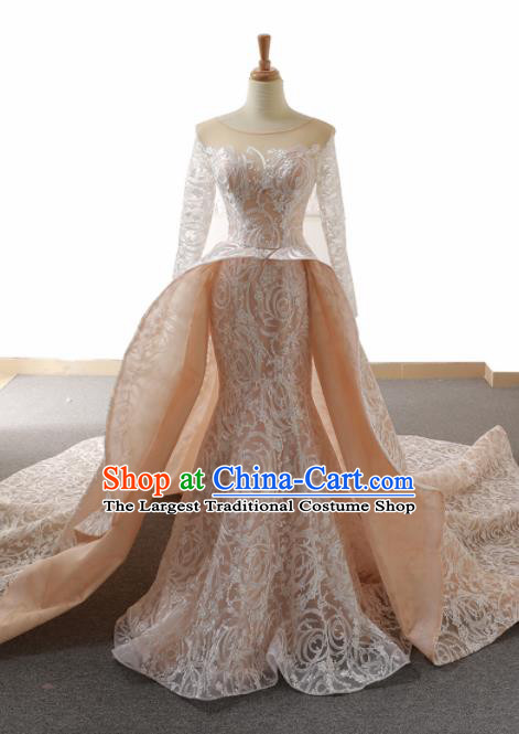Top Grade Compere Trailing Full Dress Princess Pink Lace Wedding Dress Costume for Women