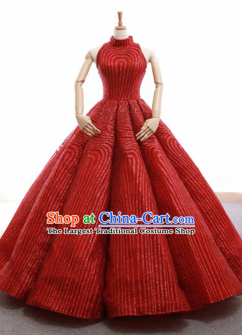 Top Grade Compere Red Bubble Full Dress Princess Embroidered Wedding Dress Costume for Women
