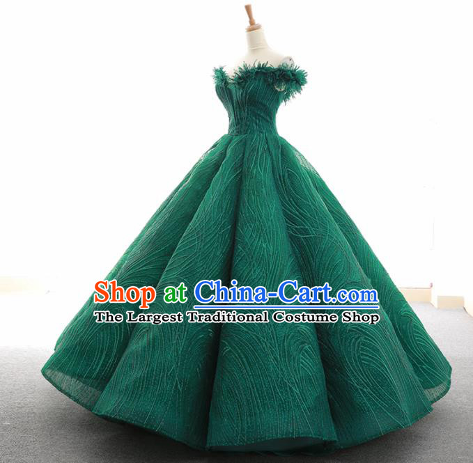 Top Grade Compere Green Bubble Full Dress Princess Embroidered Veil Wedding Dress Costume for Women