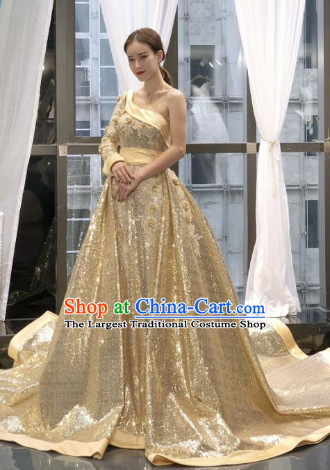 Top Grade Compere Trailing Full Dress Princess Golden Wedding Dress Costume for Women