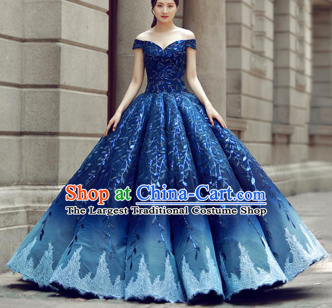 Top Grade Compere Royalblue Bubble Full Dress Princess Embroidered Wedding Dress Costume for Women