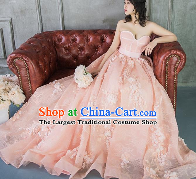 Top Grade Compere Pink Veil Bubble Full Dress Princess Embroidered Wedding Dress Costume for Women