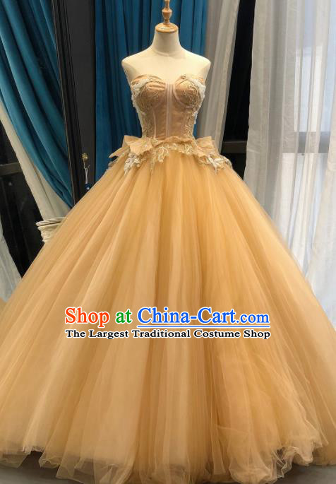 Top Grade Compere Champagne Veil Bubble Full Dress Princess Embroidered Wedding Dress Costume for Women