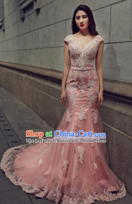 Top Grade Compere Pink Veil Trailing Full Dress Princess Embroidered Wedding Dress Costume for Women