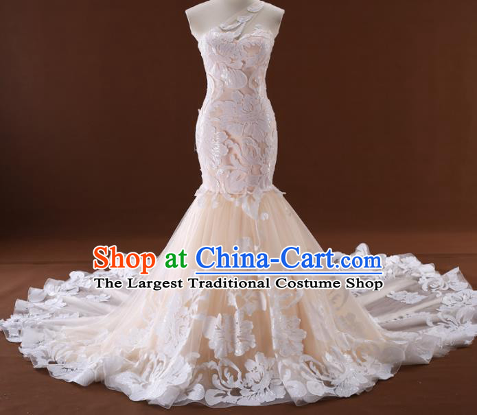 Top Grade Compere Champagne Veil Trailing Full Dress Princess Embroidered Lace Wedding Dress Costume for Women