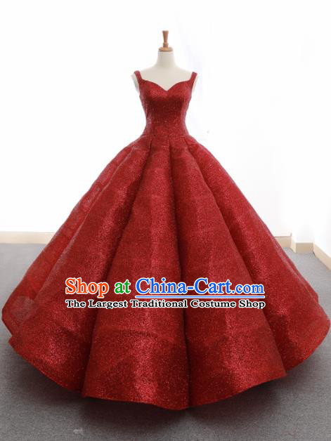 Top Grade Compere Wine Red Veil Bubble Full Dress Princess Embroidered Wedding Dress Costume for Women