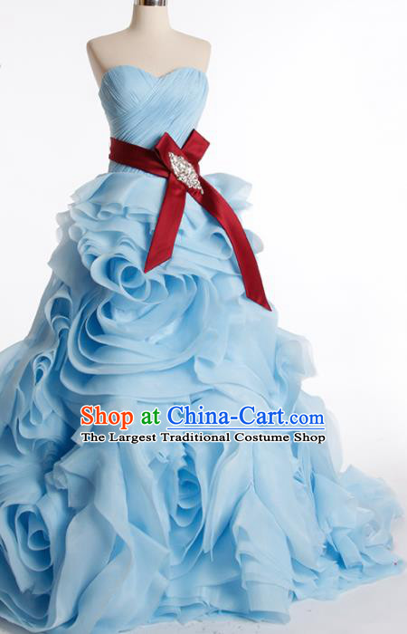 Top Grade Compere Blue Rose Full Dress Princess Trailing Wedding Dress Costume for Women