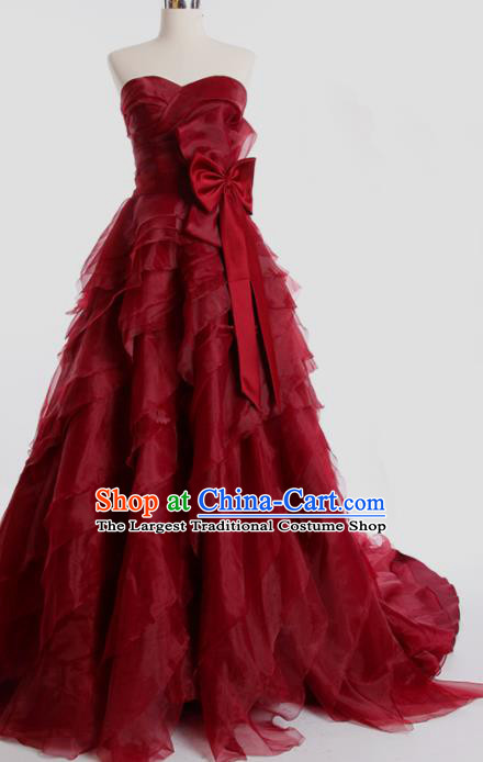 Top Grade Compere Wine Red Veil Full Dress Princess Trailing Wedding Dress Costume for Women