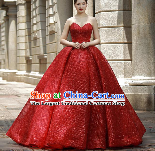 Top Grade Compere Red Veil Bubble Full Dress Princess Embroidered Wedding Dress Costume for Women