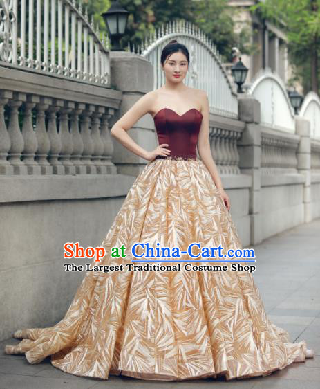 Top Grade Compere Golden Veil Trailing Full Dress Princess Embroidered Wedding Dress Costume for Women