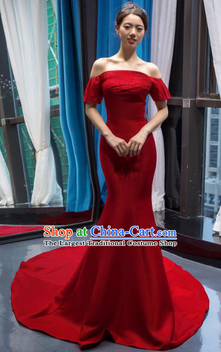 Top Grade Compere Red Full Dress Princess Trailing Wedding Dress Costume for Women