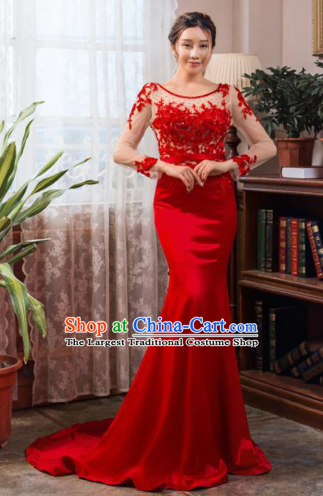 Top Grade Compere Red Fishtail Full Dress Princess Wedding Dress Costume for Women