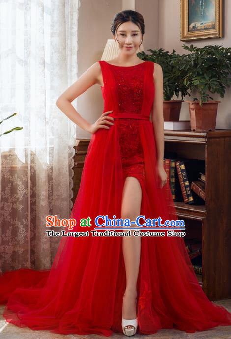 Top Grade Compere Red Veil Trailing Full Dress Princess Wedding Dress Costume for Women