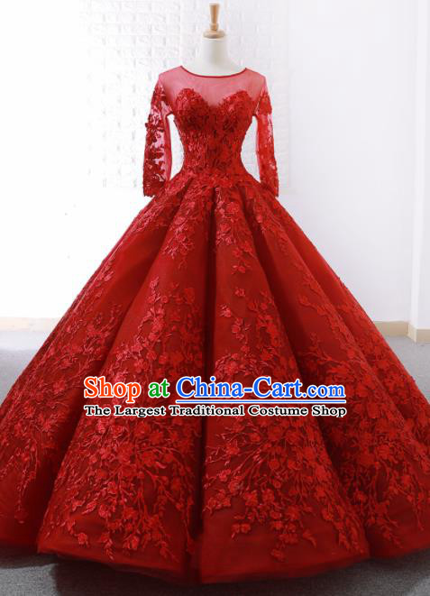 Top Grade Compere Red Bubble Full Dress Princess Embroidered Trailing Wedding Dress Costume for Women