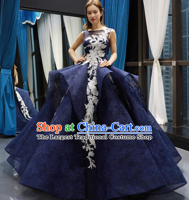 Top Grade Compere Royalblue Bubble Full Dress Princess Wedding Dress Costume for Women