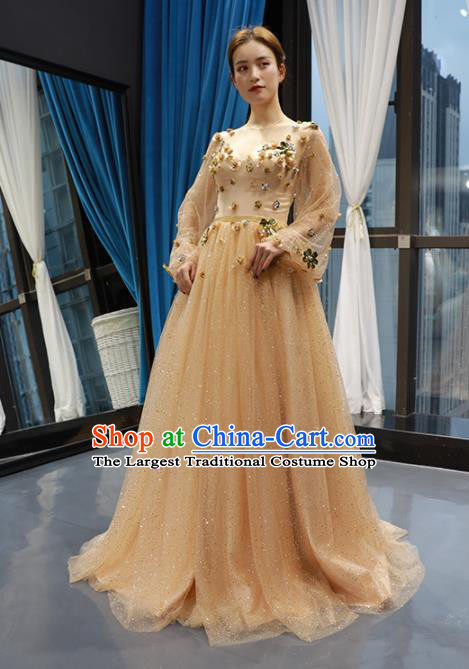 Top Grade Compere Golden Veil Full Dress Princess Trailing Wedding Dress Costume for Women